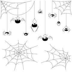 Set vector spiders and webs isolated on white background
