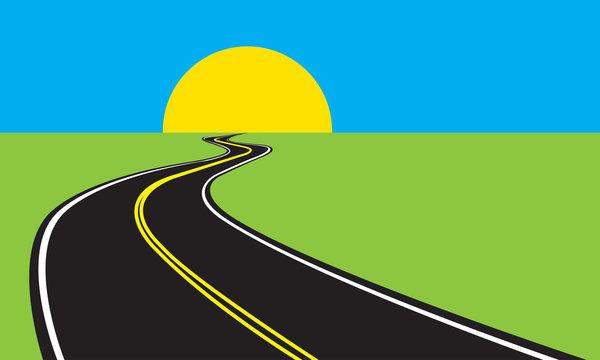 Asphalt winding road and green landscape. Vector illustration.