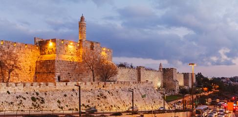 Walls of Ancient City at Night, Jerusalem
