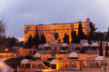 Night View of Jerusalem Streets with King David Hotel Building,