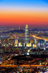 Fotobehang Seoel South Korea skyline of Seoul, The best view of South Korea with