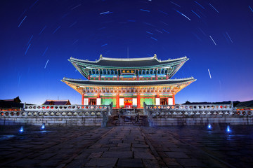 Gyeongbokgung Palace with Star trails at night in seoul,Korea.