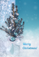 """Christmas greeting card in blue and silver, caption """"Merry Chris"""