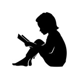 Children Reading Silhouette Little kid and girl read a book vector ... Children Reading Silhouette