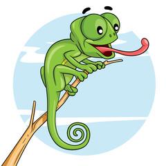 Chameleon Cartoon Illustration of cute cartoon chameleon.