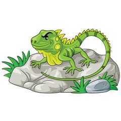 Iguana Cartoon Illustration of cute cartoon iguana.