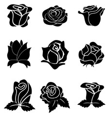 roses silhouette icons set
