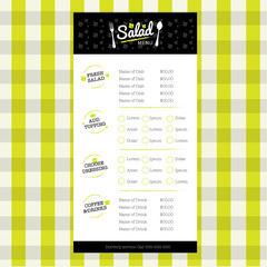 Salad Restaurant menu design template with logo and element