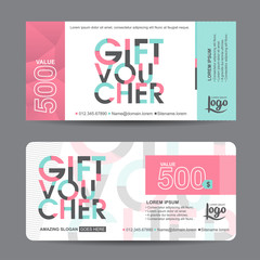 Gift voucher template with colorful pattern,cute gift voucher certificate coupon design template,