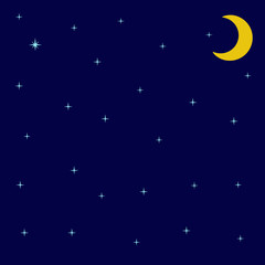 Night sky with shining stars and moon