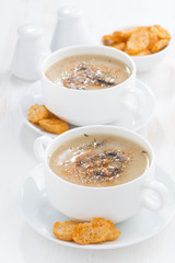 delicious mushroom cream soup with croutons, vertical