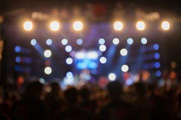 De-focus music performance concert with beautiful bokeh spotlight.