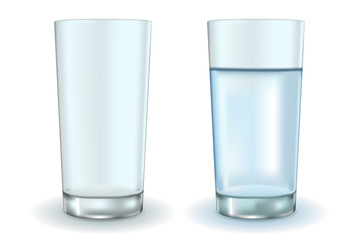Glass of water and empty glass