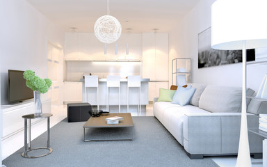 Bright interior of modern lounge studio