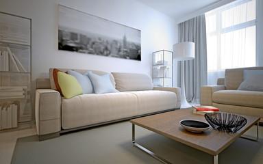 Fresh solution for the living room - white interior