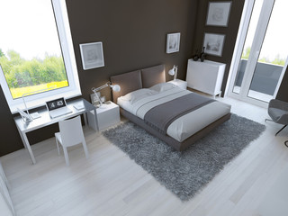 Brown color in the interior of bedroom