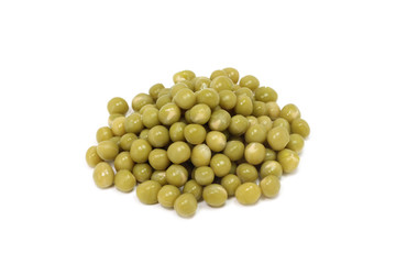 Grain canned peas on a white background