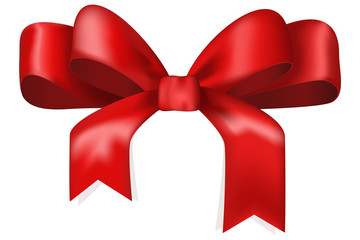 Red Christmas ribbon and bow.