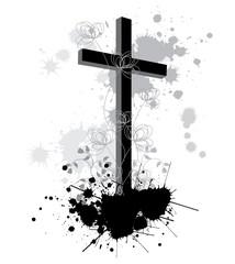 Ink Splash background with religion cross