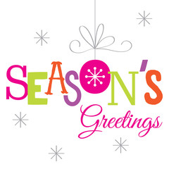 season's greeting design with fancy color and hanging bauble and snowflake suitable for your personal greeting card