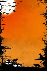 Halloween night orange vertical background with trees, bats, cats and pumpkins