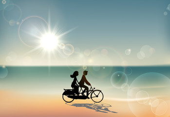 Lovers under Sunset Riding Bicycle