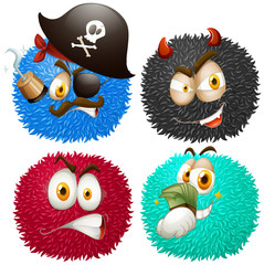 Set of fluffy balls with emoticons
