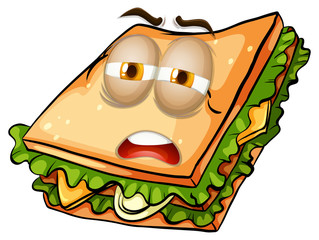 Sandwich with lazy face.