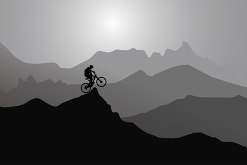Extreme Sports Player, Mountains, Sunset