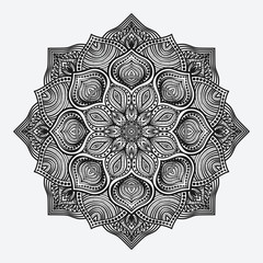 mandala. circular monochrome pattern