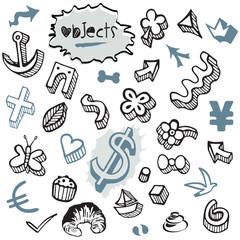 Ensemble d'Icones et de Symboles en Noir et Bleu
