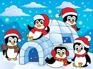 Igloo with penguins theme 2