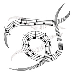 waves and spirals of music notes and stave /musical elements for your design