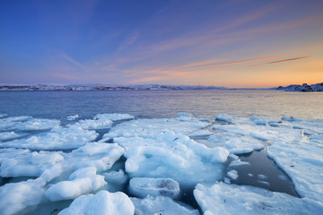 Ice floes at sunset, Arctic Ocean, Porsangerfjord, Norway