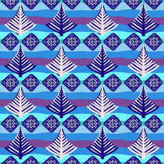 Hand-painted seamless pattern with ethnic motifs in multiple bright colors