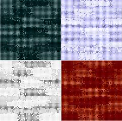 Digital camouflage seamless patterns - vector set.