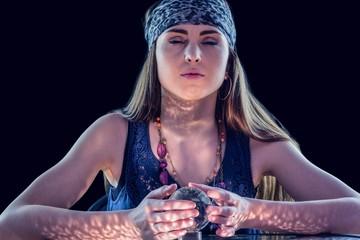 Fortune teller using crystal ball