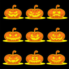 Set nine design elements: halloween pumpkins with scary face