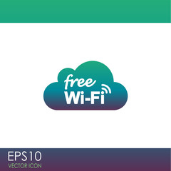Free Wi-Fi vector icon. Wi-Fi symbol. Wi-Fi zone icon. Wireless Network symbol.