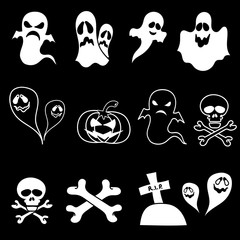 SET vector brush halloween element on black background