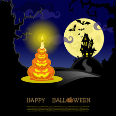 Vector Halloween banner pumkins, candle, bats and scary house