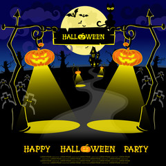 Halloween banner with lamps pumkins, bats, scary trees and house