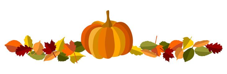 Herbstblätter Banner mit Kürbis