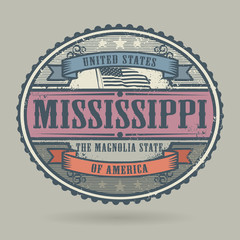 Vintage stamp with the text United States of America, Mississipp
