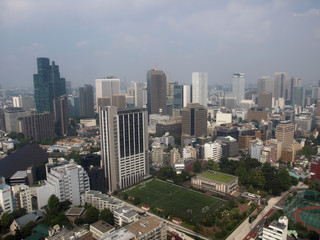 Sport grounds between skyscrapers in modern city block