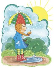 Девочка дождь зонт лужа