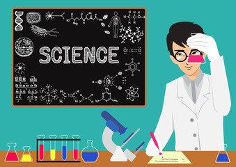 Scientist doing research in the laboratory with chalkboard background.