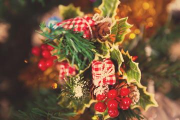 mistletoe on a Christmas tree