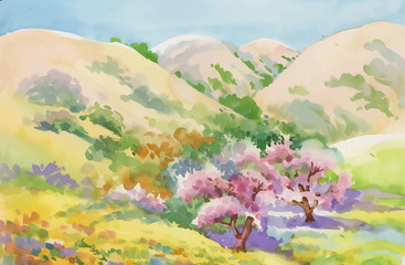Watercolor summer rural landscape vector illustration