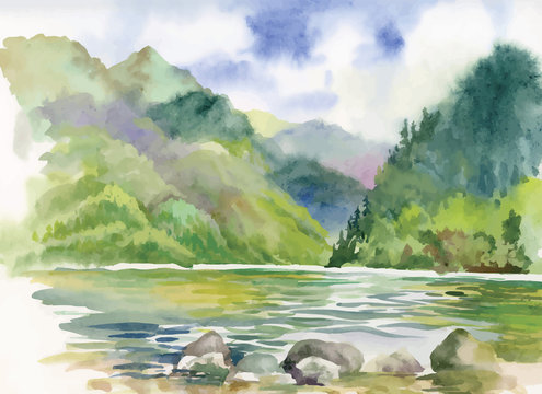 Watercolor summer river landscape